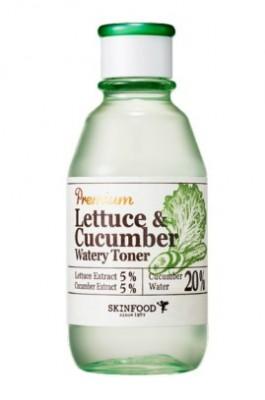 Тонер увлажняющий с экстрактом огурца и салата латука SKINFOOD Premium Lettecure Cucumber Watery Toner: фото
