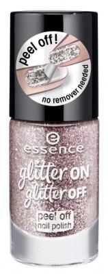 Лак для ногтей с глиттером ЕSSENCE Glitter On Glitter Off 02 розовый: фото