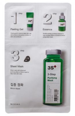 Маска трехступенчатая с гамамелисом MISSHA 3step Purifying Mask 15г+22г +1,5г: фото