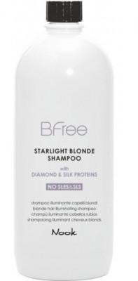 Шампунь сияющий для волос цвета Блонд NOOK BFree Starlight Blonde Shampoo 1000 мл: фото