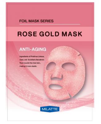Маска тканевая антивозрастная MILATTE ROSE GOLD MASK ANTI-AGING 23г: фото