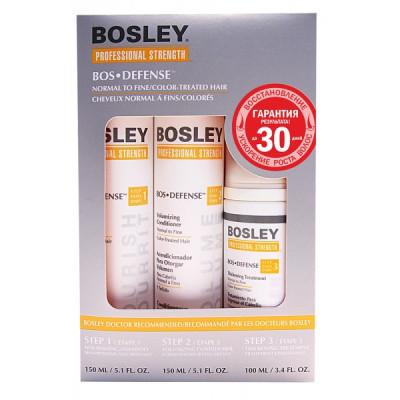 Система желтая для нормальных/тонких окрашенных волос Bosley Bos Defense for Normal to Fine Color-Treated Hair 150мл*2 + 100мл: фото