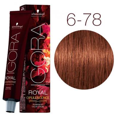 Крем-краска Schwarzkopf professional Igora Royal Opulescence 6-78 Тёмный русый медный красный 60 мл: фото