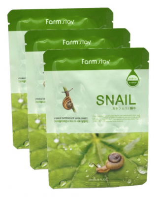 Набор тканевых масок для лица с муцином улитки FARMSTAY Snail Visible Difference Mask Sheet 23мл*3шт: фото