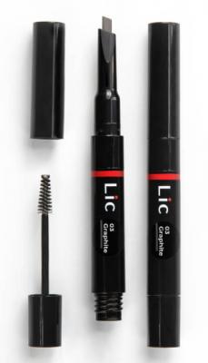 Карандаш механический для бровей 2 в 1 с гелем для моделирования Lic Mechanical eyebrow pen 03 Graphite: фото