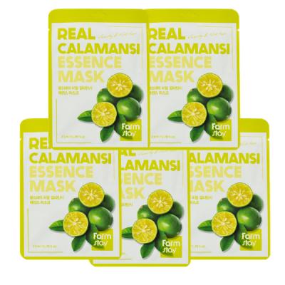Набор тканевых масок для лица с экстрактом каламанси FARMSTAY REAL CALAMANSI ESSENCE MASK 23мл*5шт: фото