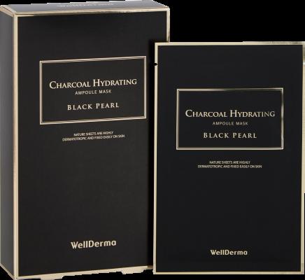 Набор тканевых масок с древесным углем WELLDERMA Charcoal Hydrating Ampoule Mask Black Pearl 25мл*10шт: фото